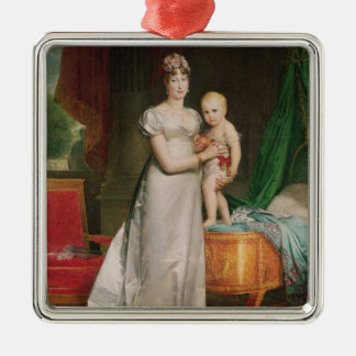 Marie Louise  and the King of Rome Silver-Colored Square Decoration