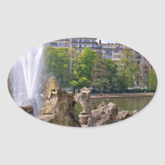Marie-Louise square in Brussels, Belgium Oval Sticker