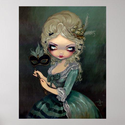 Marie Masquerade lowbrow gothic Rococo Art Print