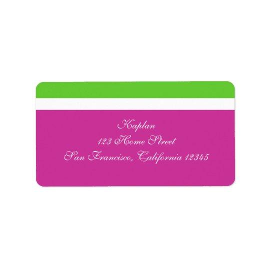 Marielle Address Label Pink Green Wedding Mitzvah