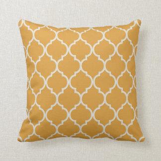 Marigold and White Quatrefoil Pattern Cushion