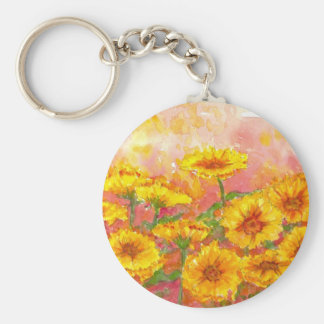 Marigold Autumn Flower Watercolor Garden Art Key Ring