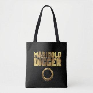 Marigold digger black gold tote bag
