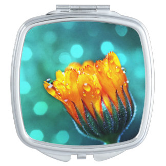 Marigold Flower Bud Sparkling Turquoise Travel Mirror