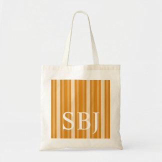 Marigold Victorian Stripe with Monogram Tote Bag