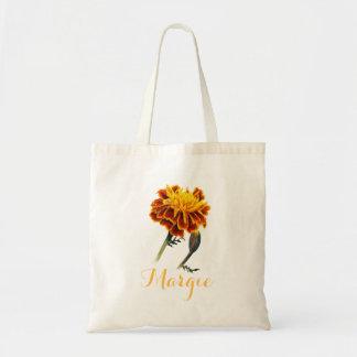 Marigold with bud orange margie library bag
