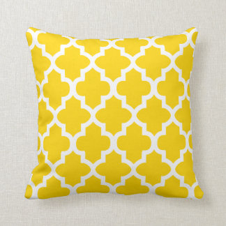 Marigold Yellow and White Quatrefoil Pattern Cushion