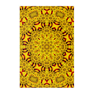 Marigolds Kaleidoscope   Acrylic Wall Art