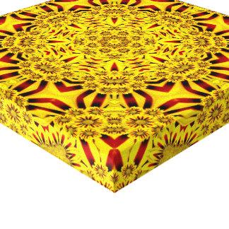 Marigolds  Vintage Kaleidoscope  Wrapped Canvas