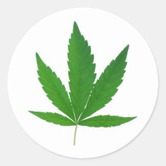 marihuana leave round sticker