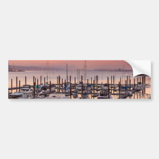 Marina along Columbia River at Sunset in Oregon Bumper Sticker