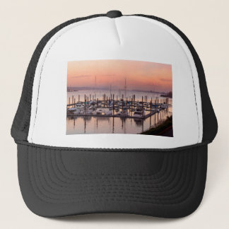 Marina along Columbia River at Sunset in Oregon Trucker Hat