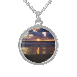 Marina del Rey Sunset Round Pendant Necklace