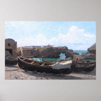 Marina Piccola on Capri Island, Italy by Haseltine Poster
