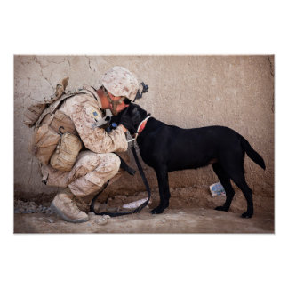 Marine and His Dog Poster