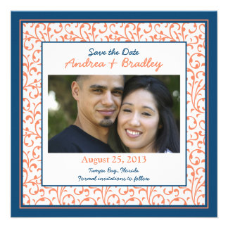 Marine Blue Coral Damask Photo Save the Date Custom Invites