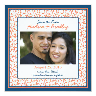 Marine Blue Coral Damask Photo Save the Date 5.25x5.25 Square Paper Invitation Card