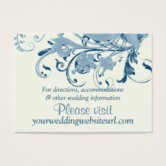 Marine Blue Ivory Floral Wedding Website Insert