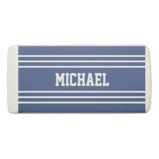 Marine Blue Stripes custom monogram eraser