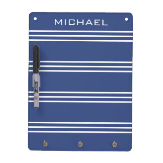 Marine Blue Stripes custom monogram message board Dry Erase Board