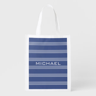 Marine Blue Stripes custom monogram reusable bag