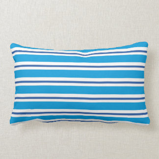 Marine Blue Summer Stripes American MoJo Pillow