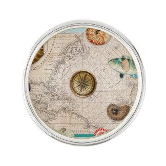 Marine collage aquamarine lapel pin