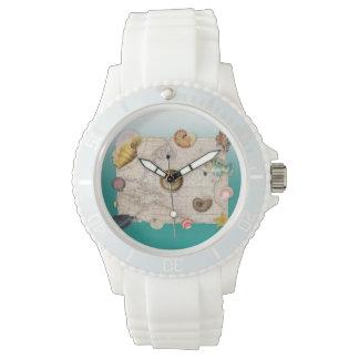 Marine collage aquamarine watch