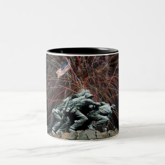 Marine Corp War Memorial with Fireworks Two-Tone Coffee Mug
