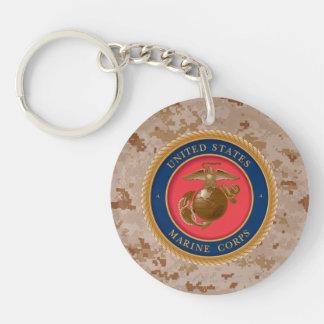 Marine Corps Seal 2 Double-Sided Round Acrylic Key Ring