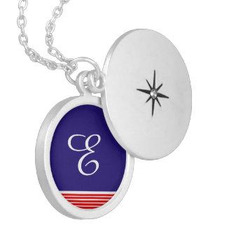 marine design round locket necklace
