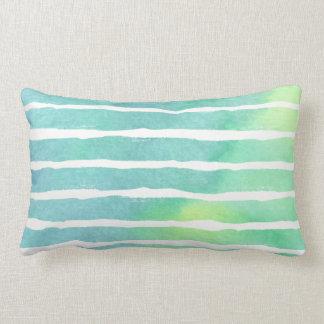 Marine Greens Striped Watercolor - All Fabrics L Lumbar Cushion