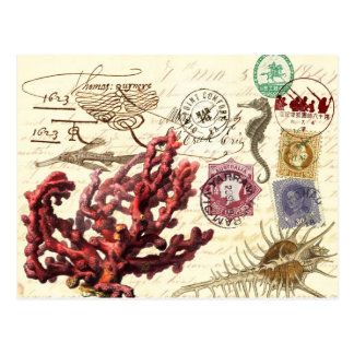 Marine Life Collage with Postmarks and Stamps Postcard