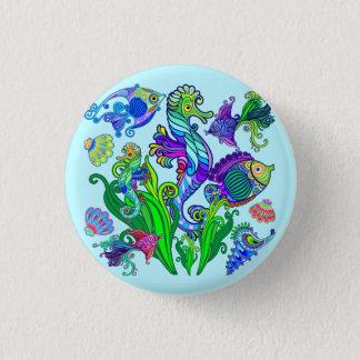 Marine Life Exotic Fishes & SeaHorses 3 Cm Round Badge