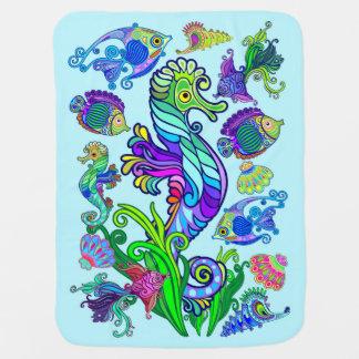 Marine Life Exotic Fishes & SeaHorses Baby Blanket