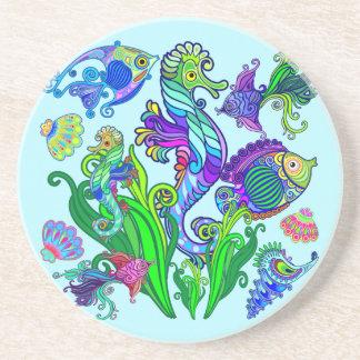 Marine Life Exotic Fishes & SeaHorses Beverage Coasters