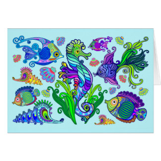 Marine Life Exotic Fishes & SeaHorses Card