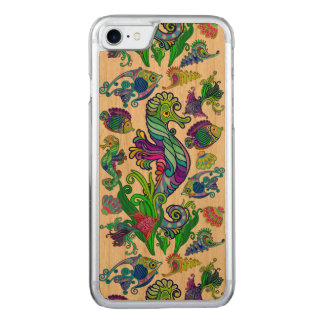Marine Life Exotic Fishes & SeaHorses Carved iPhone 8/7 Case