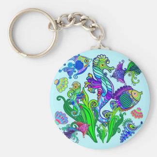 Marine Life Exotic Fishes & SeaHorses Key Ring