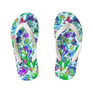 Marine Life Exotic Fishes & SeaHorses Kid's Thongs