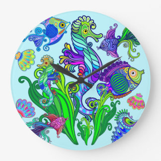 Marine Life Exotic Fishes & SeaHorses Large Clock