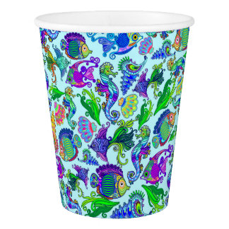 Marine Life Exotic Fishes & SeaHorses Paper Cup