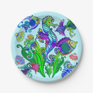 Marine Life Exotic Fishes & SeaHorses Paper Plate