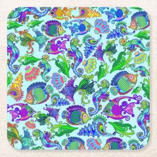 Marine Life Exotic Fishes & SeaHorses Square Paper Coaster