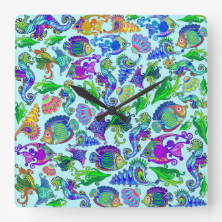Marine Life Exotic Fishes & SeaHorses Square Wall Clock