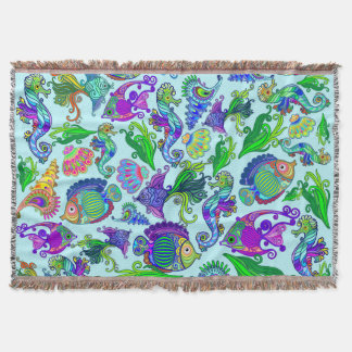 Marine Life Exotic Fishes & SeaHorses Throw Blanket