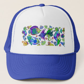 Marine Life Exotic Fishes & SeaHorses Trucker Hat