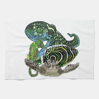 Marine life tea towel
