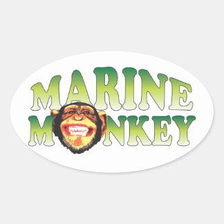 Marine Monkey. Oval Sticker