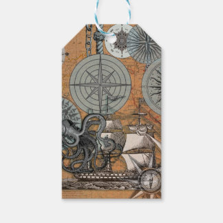 Marine Nautical Art Print Vintage Design Octopus Gift Tags